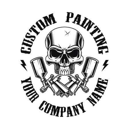a vintage emblem for a car painting theme, vector illustration of a skull with spray guns