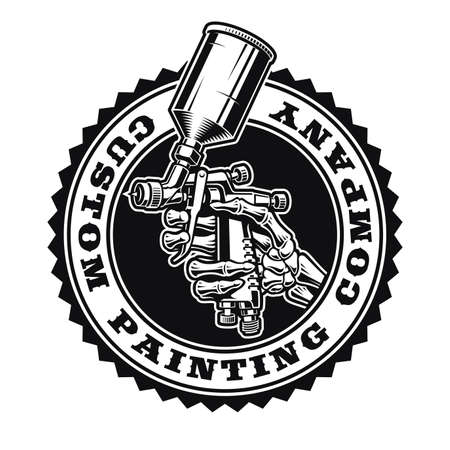 A vintage logo template for a car painting theme, vector illustration of a skeleton hand holding a spray gun.