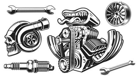 A vector clip art for a hot rod theme, these design can be used as t-shirt prints