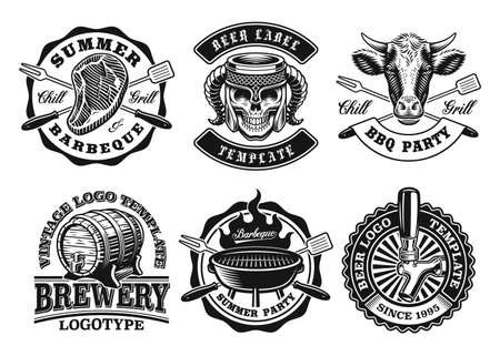 A set of vintage badges for BBQ and beer themes, these designs can be used as emblems for companies as well as labels for many creative products 矢量图像