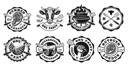 A set of black and white vintage badges for a BBQ theme