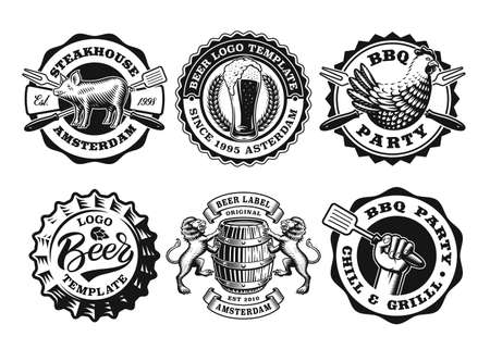 A set of black and white badges for barbeque and beer themes, these designs can be used as emblems for companies as well as labels for different products