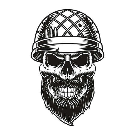 a black and white illustration of a bearded skull soldier