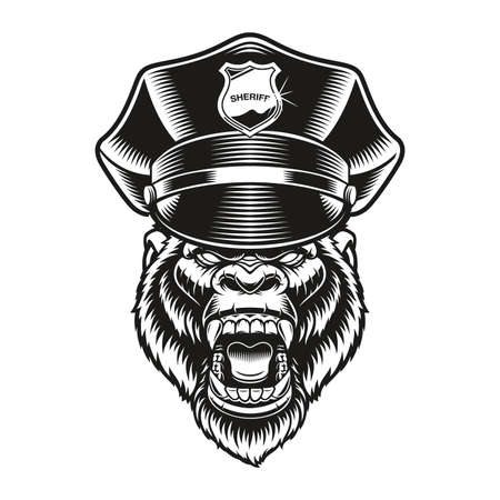 a vector illustration of a gorilla policeman in vintage style