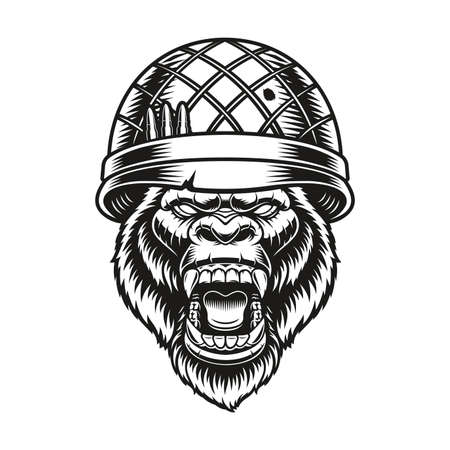 a black and white vector illustration of a gorilla soldier