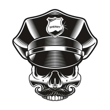 a black and white vector illustration of a policeman skull on white background