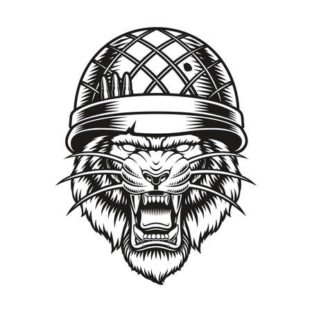 a vector illustration of a tiger soldier on white background