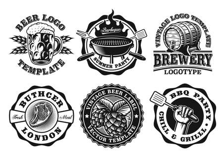 A set of vector badges for BBQ and beer themes, these designs can be used as emblems for companies as well as labels for many creative products