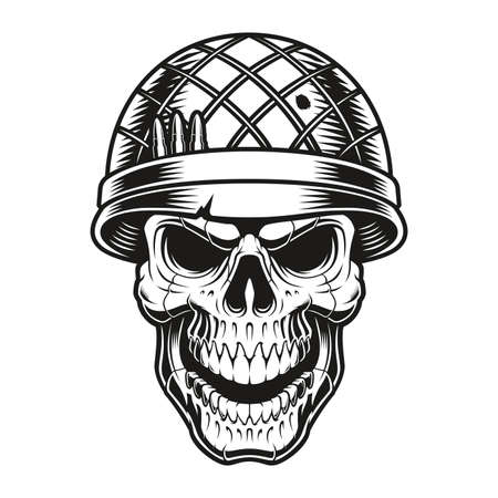 vector illustration of a soldier skull on white background