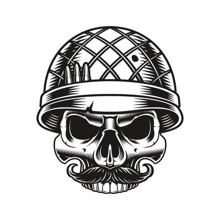 a vintage vector illustration of a skull soldier 矢量图像