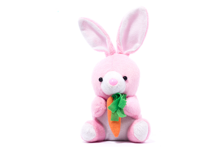pink plush rabbit with carrot, isolate, festive easter rabbit Banque d'images - 115856389