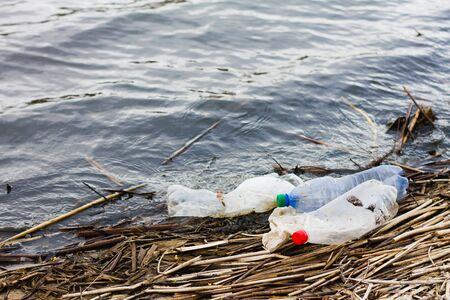 Plastic bottles on the river bank, concept for the day of the protection of the oceans. Nondegradable plastic rubbish on the coast, closeup