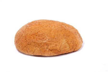 roll of gray rye bread, closeup, isolate. Homemade bread