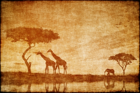 Safari in Africa drawing on ald paper Stock Photo - 15764108