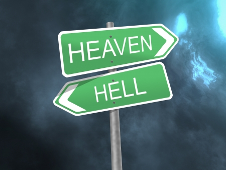 signpost to heaven and hell Stock Photo - 15759951