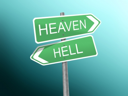 damnation: signpost to heaven and hell  Stock Photo