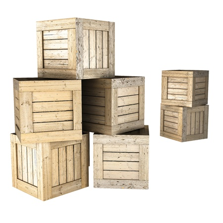 old container: Wooden crates Stock Photo
