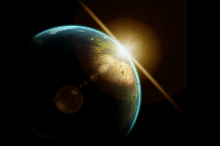 sunbeam: Planet earth with sunrise in space Stock Photo