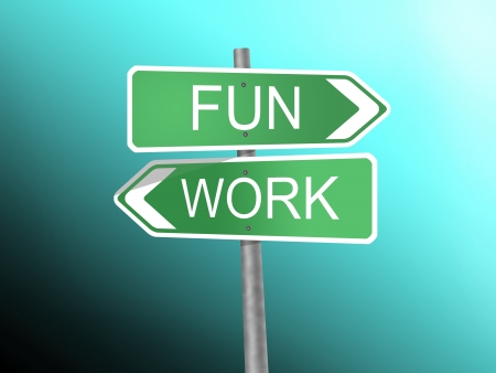 signboard with fun and work word Stock Photo - 15764128
