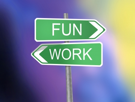 signboard with fun and work word Stock Photo - 15764129