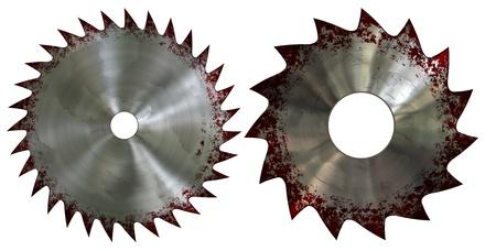 blade cut: Bloody saw blade