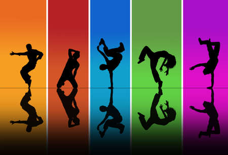 hip hop dancing: Dancers silhouettes over a rainbow background