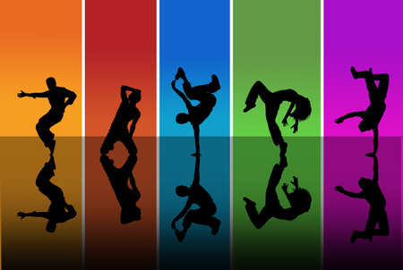 baile hip hop: Bailarines siluetas sobre un fondo del arco iris