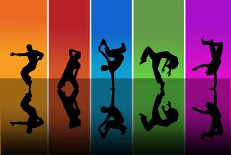 Dansers silhouetten op een regenboog achtergrond