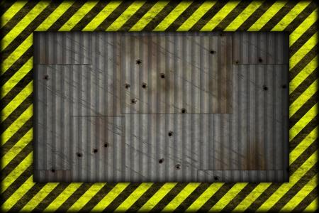 safety net: Hazard frame metal plate background  Stock Photo