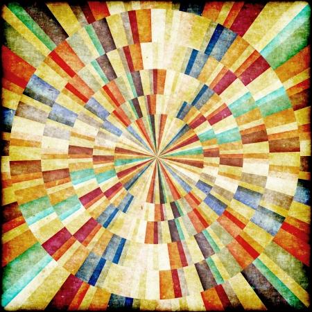 Multicolor Sunbeams grunge background. Retro poster Standard-Bild