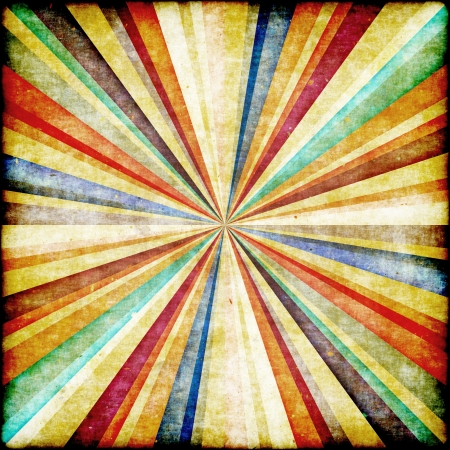 Multicolor Sunbeams grunge background  Retro poster