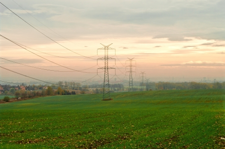 High voltage pylons and power lines to the city Stock Photo - 16797107