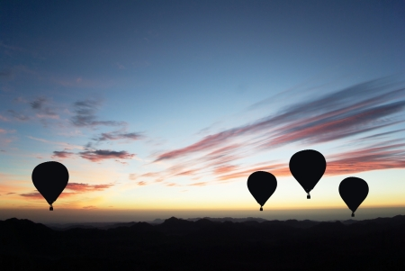 hot air: Hot air balloon on sunset  Stock Photo