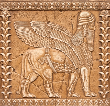 Stone Carving Lamassu or Shedu in Mesopotamia mitology, old relief