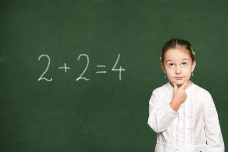 smart girl thinking, green chalkboard background