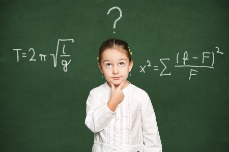 smart girl thinking, green chalkboard background