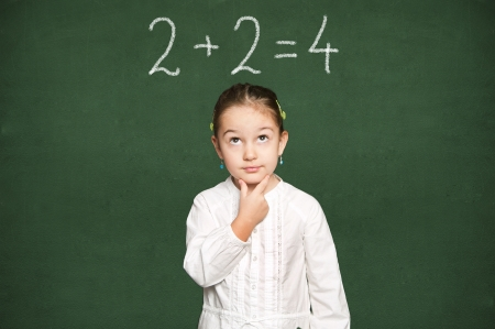 smart girl thinking, green chalkboard background  Stock Photo - 18038470