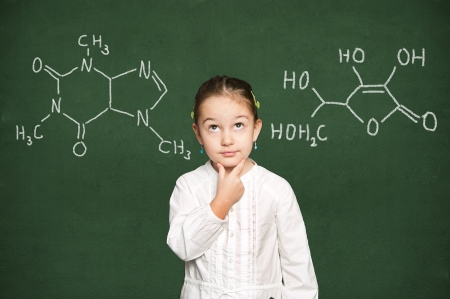 smart girl thinking, green chalkboard background Stock Photo - 18038474