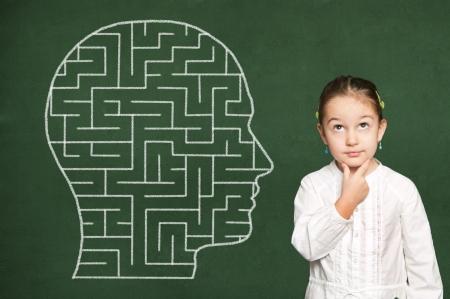 exact science: Maze in head on green chalkboard Stock Photo