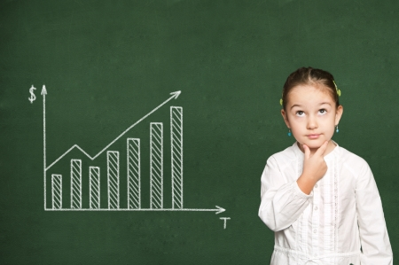 exact science:  chart of earnings on chalkboard Stock Photo