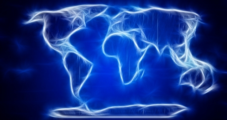 Digital World Map on blue photo
