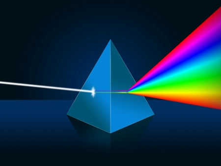 dispersion: Light dispersion illustration  Prism, spectrum   Stock Photo