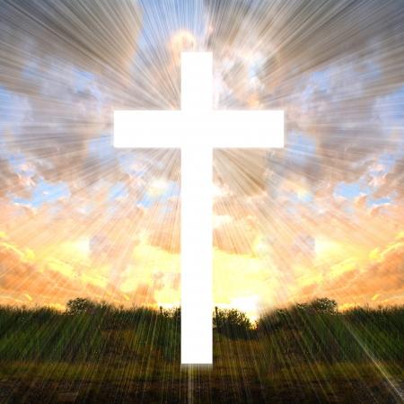 catholic wedding: Cross with light shafts  Faith symbol
