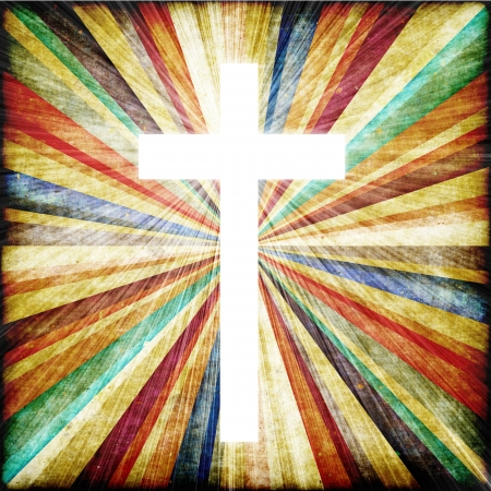 가벼운 샤프트의 믿음의 상징으로 십자가