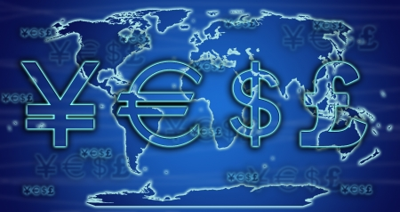 european exchange: World currency exchange rates on world map