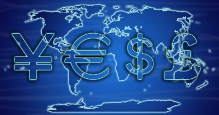 World currency exchange rates on world map