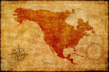 rosa dei venti: Old nord america mappa su pergamena Archivio Fotografico