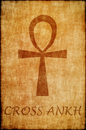 symbolism: cross ankh draw on old parchment