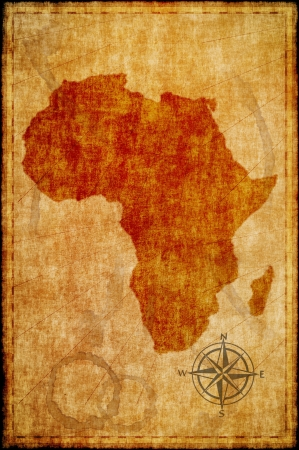 africa antique: Africa map on parchment. Retro map.