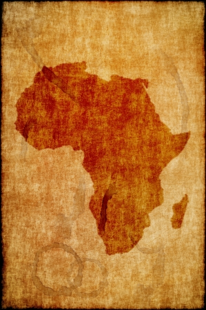 Africa map on old paper. Retro map.